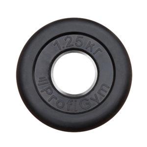 ДТР-1,25/51 Диск «Profigym» тренировочный обрезиненный 1.25 кг черный 51 мм (металлическая втулка)
